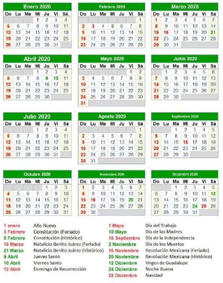 Conoce El Calendario 2020 Puentes Y Días Feriados Billie Parker Noticias